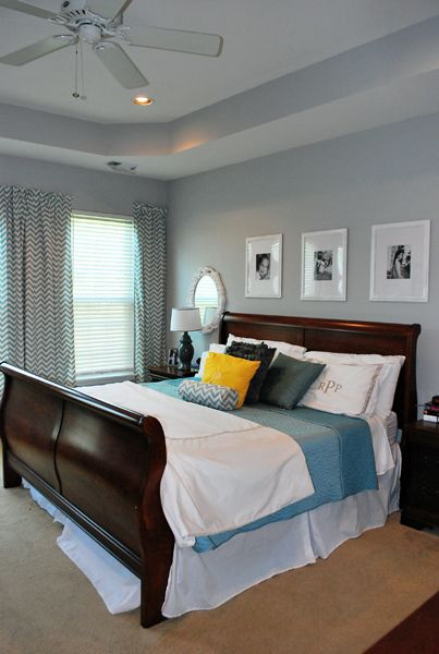 This is the exact layout of my bedroom!  Complete with tray ceiling, fan, and cherry sleigh bed!  Nice to find some inspiriation using what I already have!