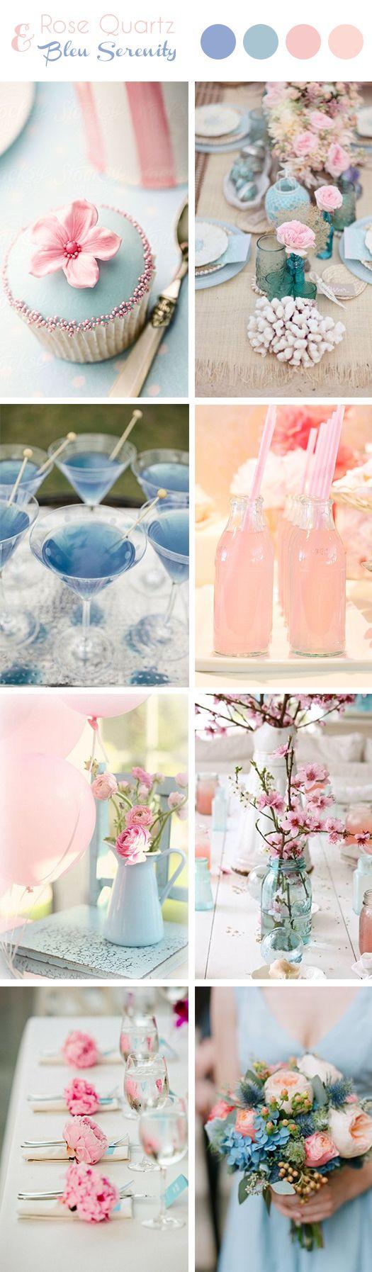 Page tendance décoration de mariage : Rose Quartz & Bleu Serenity // Couleurs Pantone 2016