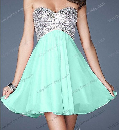 Mint short prom dress tulle prom dress champagne prom by verydress