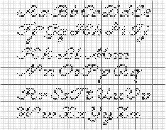 AlphaTwo  A Script CrossStitch Alphabet by xmystitchesx on Etsy, $5.00