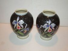 Rosenthal Selb Germany PAIR Cattleya Floral Vases with Black Crackle Finish. 20 cm