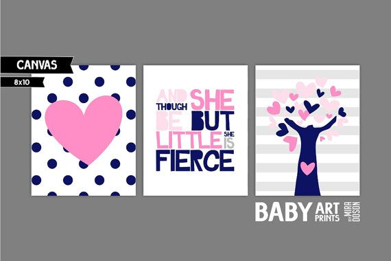 Navy and Pink Nursery canvas art Set of 3 8x10. Though she is