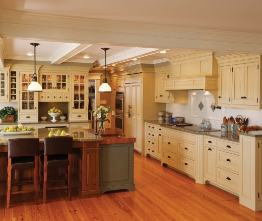 Traditional Island Style Teal kitchen, cream cabinets, Crown Point