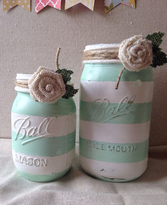 Mint green and white striped painted mason jars by scrapartbynina, $16.00
