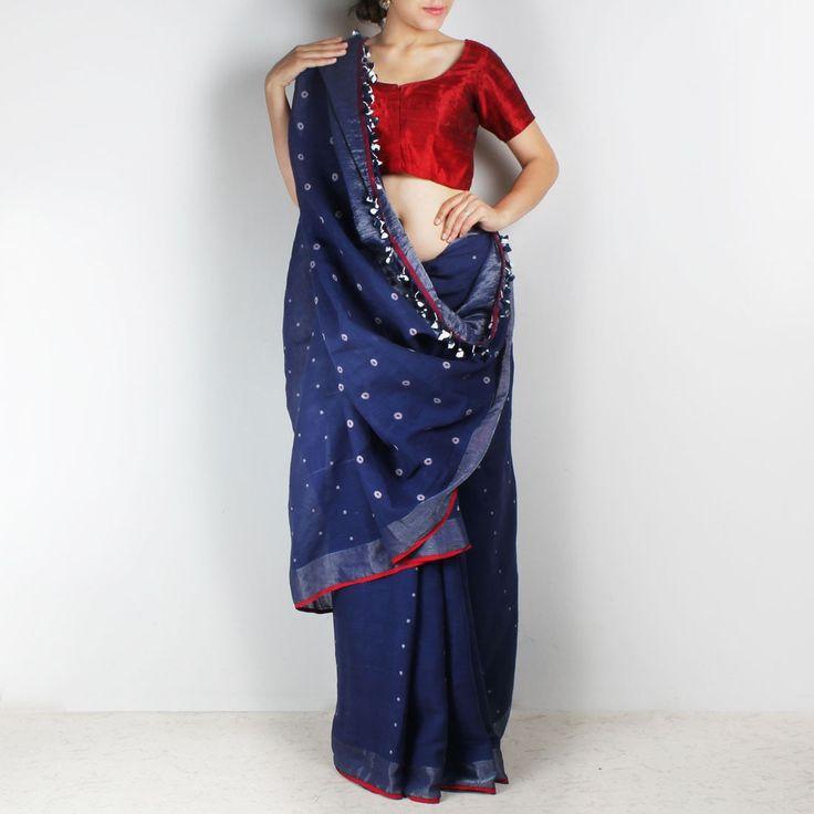Handwoven Khadi Cotton Indigo Blue Saree with circular Motifs