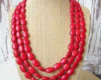 Collar rojo turquesa declaración. Collar Triple rojo. Collar babero ajustable. Joyería roja. Joyería de Dama de honor. Rojo de la boda