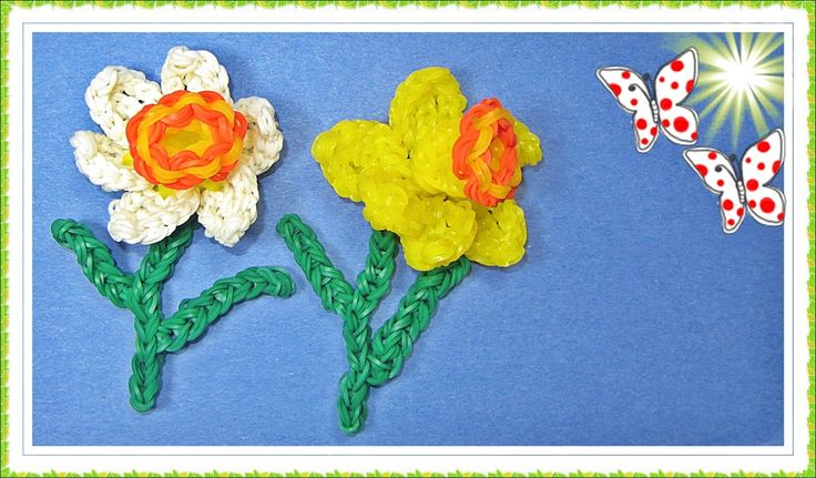 NEW Rainbow Loom Charms EASTER 3D Flower / Daffodil Tutorial by DIY Mommy (Uses about 300 bands and is an advanced design)