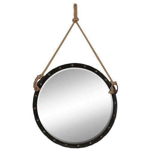 Antique Bronze Nautical Mirror Paragon Round Mirrors Features A Decorative Rope