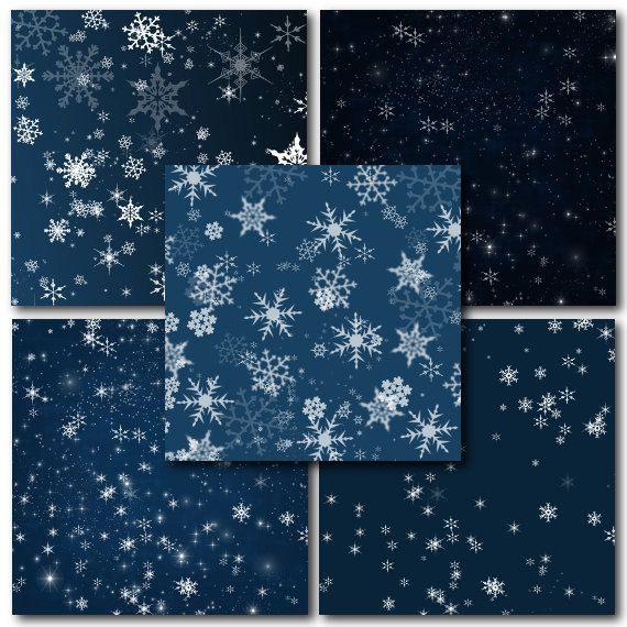Night Sky Digital Paper Winter Night Christmas by StudioDenmark