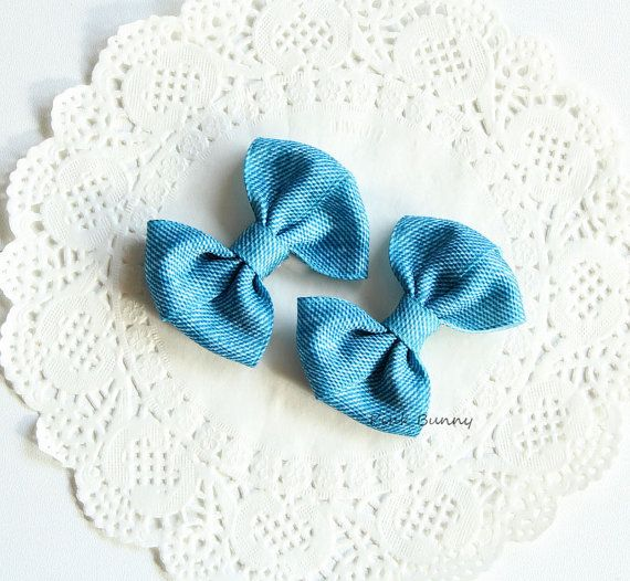 Denim Hair Bows Set of 2   Classic Denim Hair Clips by PinkkBunnyy, $7.00