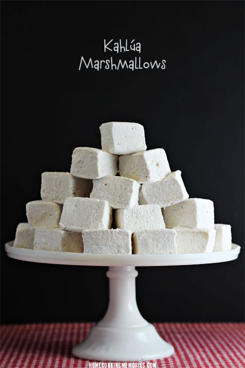 Kahlúa Marshmallows -- homemade marshmallows that you can make to enjoy in your hot chocolate or coffee or give as a gift with a bottle of Kahlúa