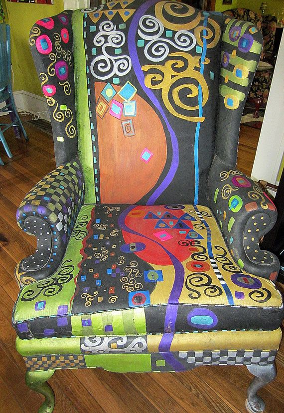 Hand painted Wing Back Chair KLIMT motif by monapaints on Etsy