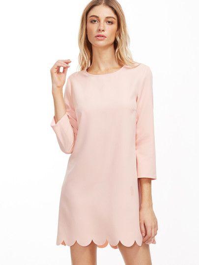 Vestido túnico con ribete festoneado-Sheinside