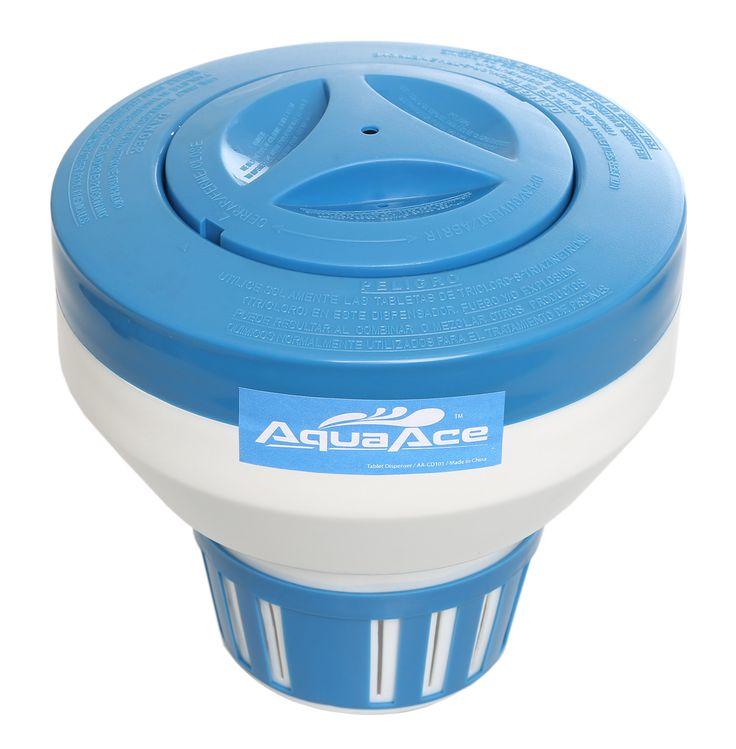 "AquaAce Floating Pool Chlorine Dispenser, Premium Floater Classic Design, Chemical Holder for Chlorine Tablets up to 3"", Adjustable 15 Flow Vents for Increased Control"