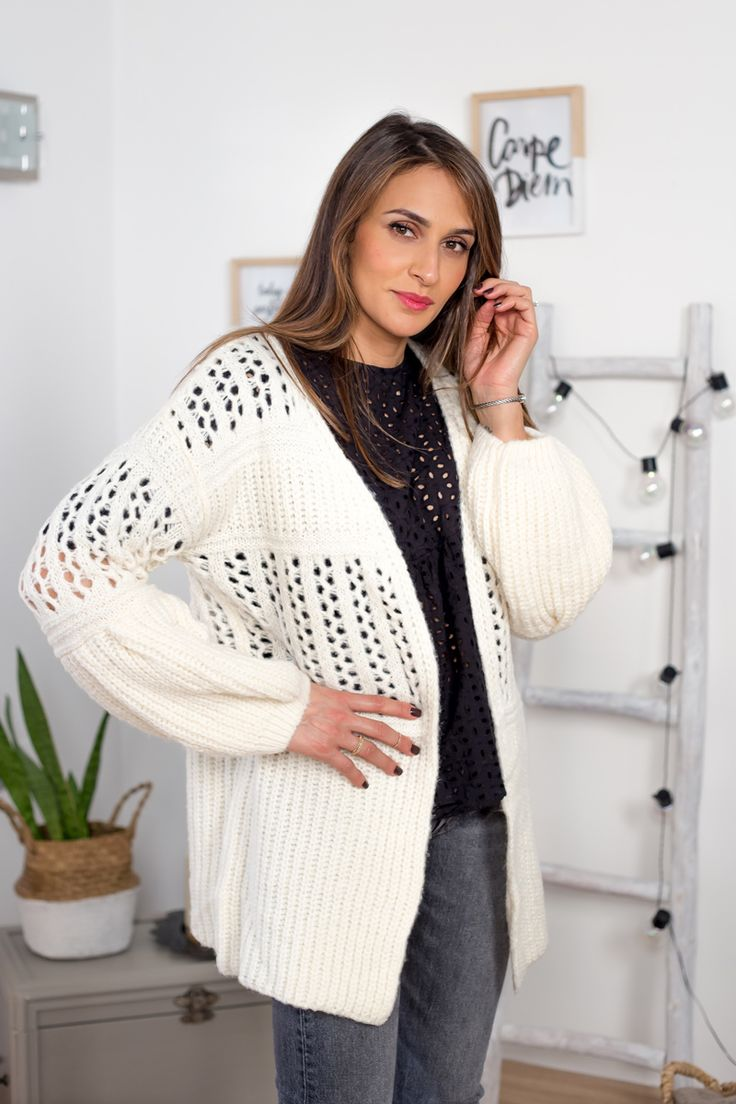 Gilet blanc laine - Yasmine Zeroc | @giftryapp
