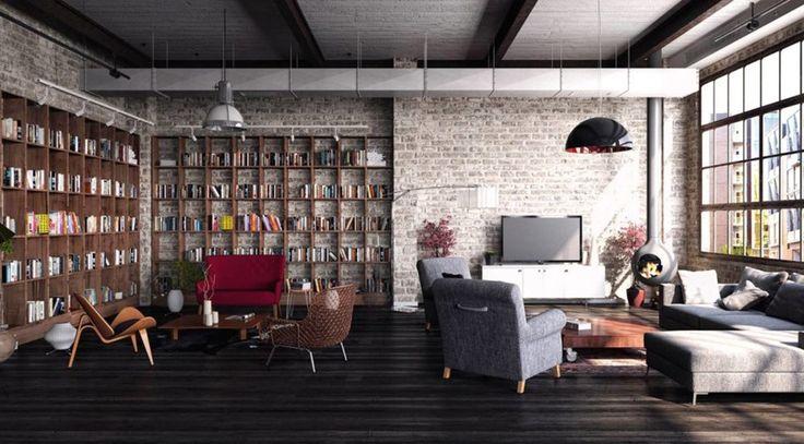 Стиль лофт в интерьере.  Лофт – интерьер промзоны и промышленных учреждений, частично перенесенный в дом. Граффити, бетон, голый кирпич, грубые деревянные балки. Зачастую в стиле лофт оформляют мансарды и комнаты-студии.