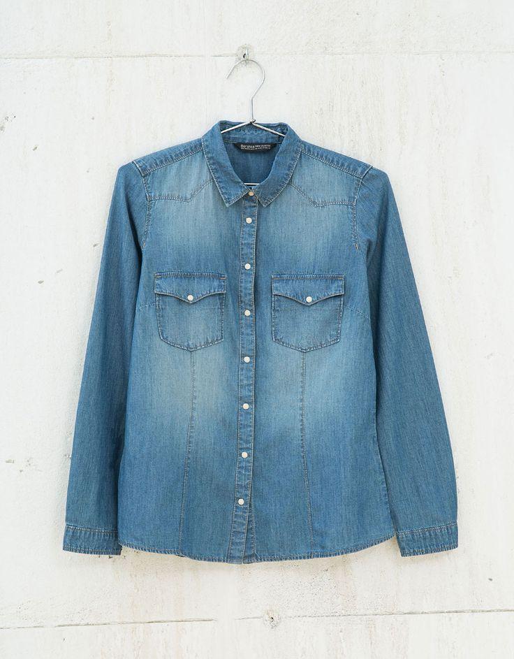 Basic denim blouse - Overhemden & blouses - Bershka Belgium