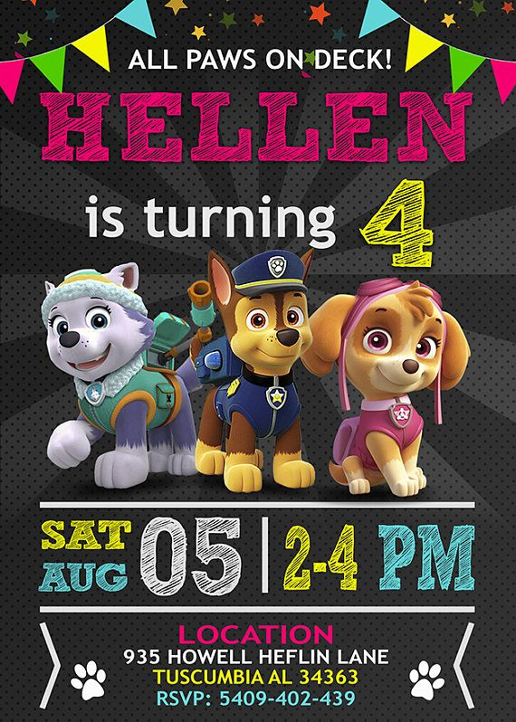 This is a Paw Patrol Birthday invitation. •••••••••• DETAILS: Provided to you in digital file (JPEG Format 300DPI) that will be fully customised with your information. NO PHYSICAL ITEM WILL BE SHIPPED TO YOU! You are free to print this file as many as you need. •••••••••• HOW TO ORDER? 1) Add this item to cart; 2) Please write at note to seller and include the following information: • NAME • AGE • DATE • LOCATION • ADDRESS • TIME • RSVP (name) • RSVP contact Please CHECK carefully your...