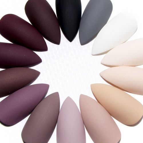 Matte Press On Nails - Stiletto Acrylic Nails - Gel Fake Nails - Pointy False Nails - Claw Glue On Nails - Plain Colour Artificial Nails | fashion, beauty and nails