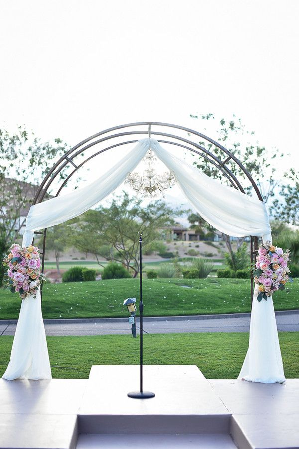 Wedding arch and a chandelier