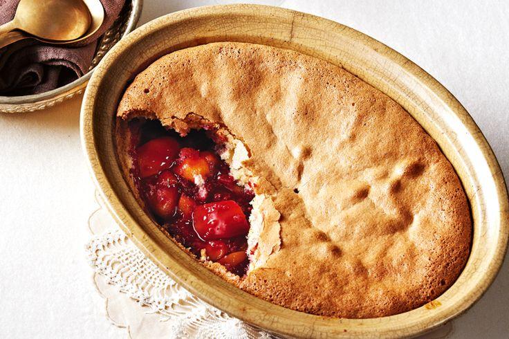 Peach and raspberry sponge pudding