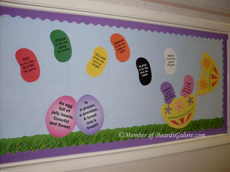Jelly Bean Prayer Easter Bulletin board idea