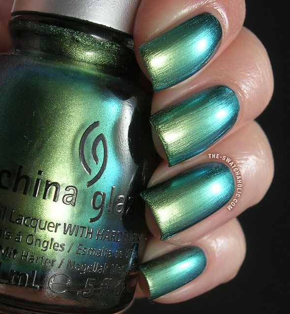 China Glaze Unpredictable swatch New Bohemian collection swatches duochrome metallic green blue aqua nail polish