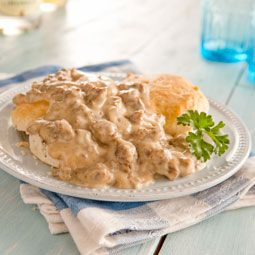 This is the best sausage gravy for biscuits I have EVER had!! SOOO easy