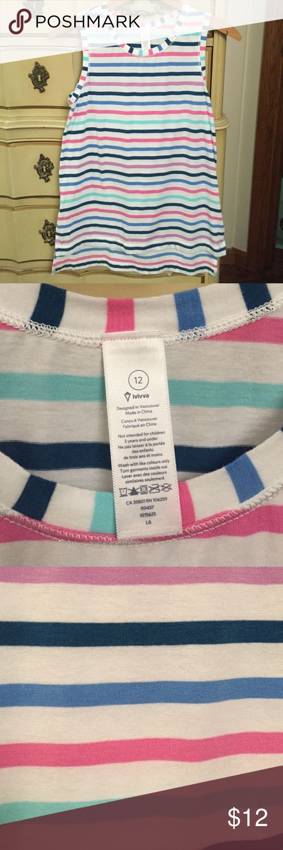Iviva (Lululemon) striped sleeveless shirt Worn twice and in great condition. Iviva is Lululemon's kids' line. Vented on the sides and the back of the shirt is a couple inches longer than the front. NO TRADES and thanks for looking! Iviva Tops Muscle Tees