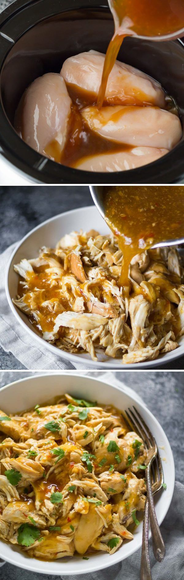 This slow cooker sweet chili chicken requires only 7 ingredients! Plus 3 recipes to use your leftovers.
