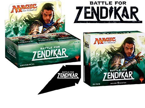 Magic the Gathering Bundle: MTG Battle for Zendikar: Box Fat Pack Combo (1 Booster Box & 1 Fat Pack) Plus Free Bonus 2 Packs BCW Matte Sleeves
