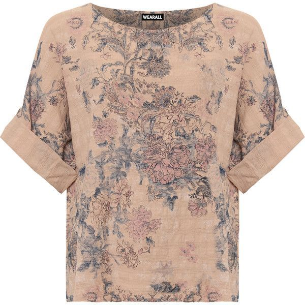 WearAll Plus Size Floral Print Linen Batwing Sleeve Top ($26) ❤ liked on Polyvore featuring plus size women's fashion, plus size clothing, plus size tops, tops, shirts, t-shirts, nude, brown long sleeve shirt, floral shirt and plus size oversized shirts