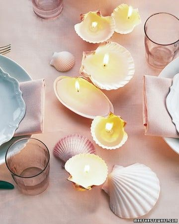 Shell Candles - The shells that the ocean cast at your feet last summer -- the ones you so fastidiously collected -- make lovely remembrances of the season with candles formed inside them. Deep shells like scallops, clams, and quahogs work best and burn longest.