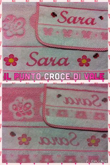 Set asilo realizzato per Elisa (Lugagnano di Sona VR). Dettaglio fronte/retro.  Visita la mia pagina Facebook: IL PUNTO CROCE DI VALE.