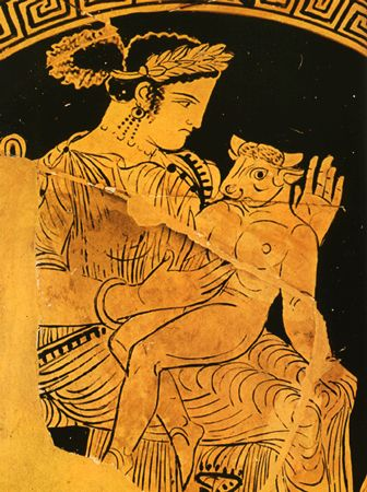 Baby Minotaur. Red-figure vase, produced in Etruria, ca. 340 BC. She doesn't look to thrilled…...