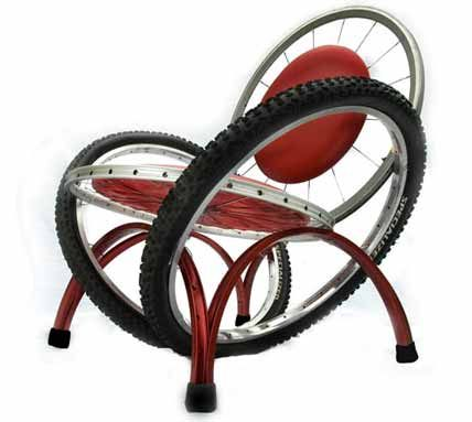 Art Chair created from upcycled bicycle wheels, bike parts; Upcycle, Recycle, Salvage, diy, thrift, flea, repurpose!  For vintage ideas and goods shop at Estate ReSale & ReDesign, Bonita Springs, FL
