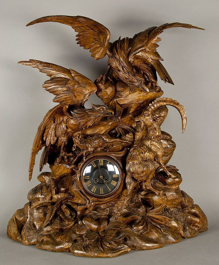 huge carved wood eagle clock, swiss 1880