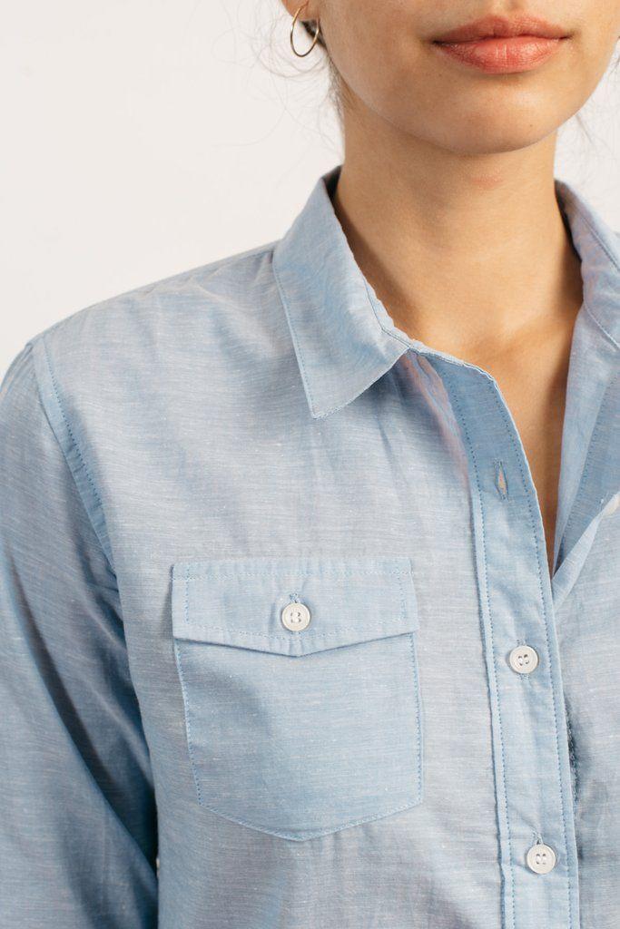 ab8e142959a5 Bird Summer Chambray Light Blue Women s Button Up Shirt – Bridge   Burn