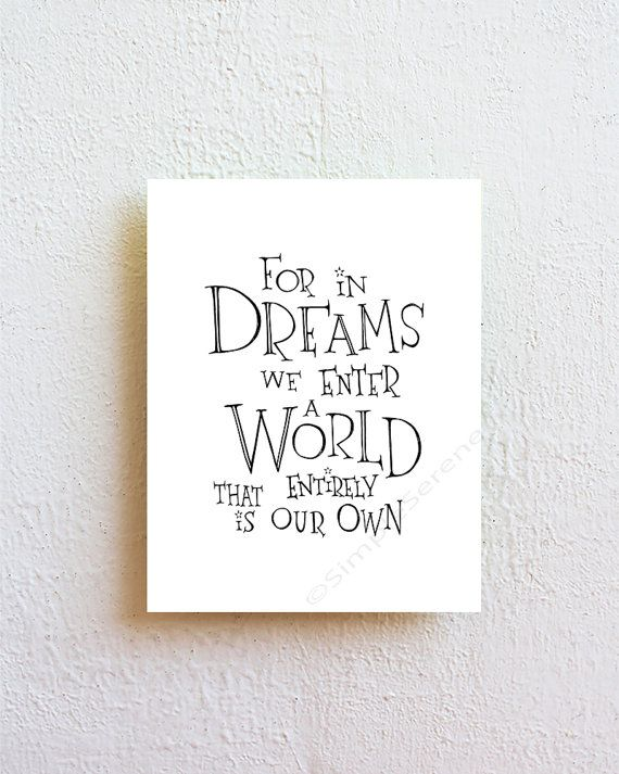 """Harry Potter Quote Art Print """"For in dreams we enter a world... Albus Dumbledore""""  black and white minimalist wall art, bedroom decor"""