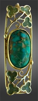 JESSIE M. KING 1873-1949 (Scottish) Liberty & Co Brooch    Gold, turquoise & enamel Literature: cf. Liberty Jewellery sketch-book,