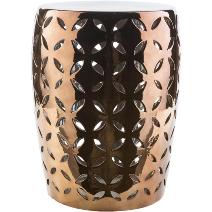 18 Glossy Brown Indoor/Outdoor Decorative Ceramic Garden Stool
