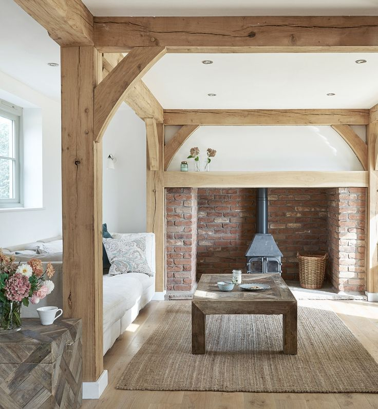 Border Oak inglenook fireplace and oak frame with oak flooring