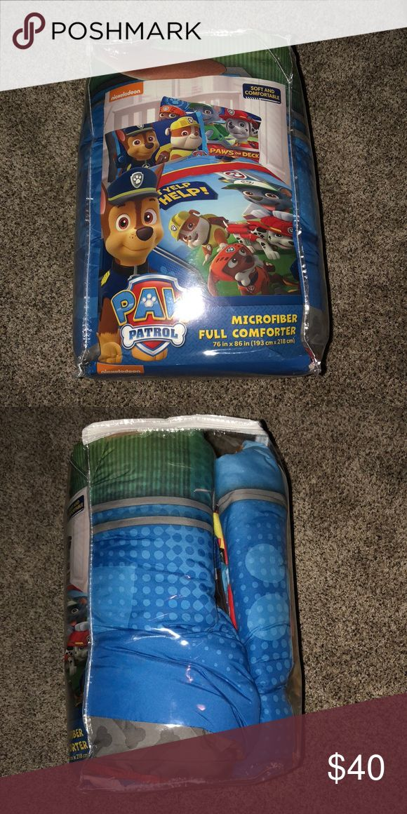Paw Patrol Bed Set Full size Paw Patrol Bedding. Comes with Comforter, fitted and flat sheet and 2 pillow cases. In excellent condition. Never slept on, only put on bed for display. Smoke Free Home!!  **Pricing Firm since heavier label is needed** Other