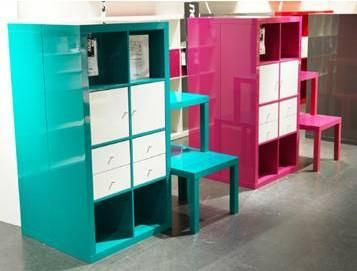Ikea Expedit now comes in turquoise and hot pink! Just got pink for our family room/play room