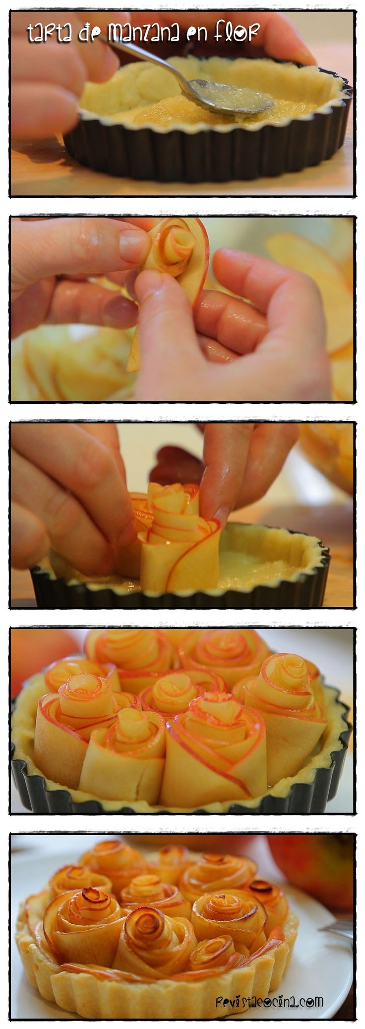 Receta de tarta de manzana en flor Receta: http://www.revistacocina.com/como-hacer-tarta-de-manzana-con-hojaldre/