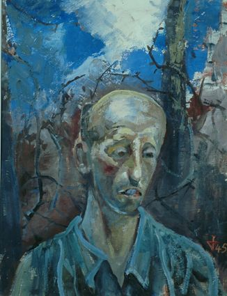 Otto Dix - Title: Portrait of a Prisoner Year: 1945 Description: When the NSDAP came to power, Dix was forced into self-imposed exile near the Swiss border. The new regime branded him a degenerate and destroyed as much of his art as they could find. Fortunately for posterity, many of his pieces were in private collections.