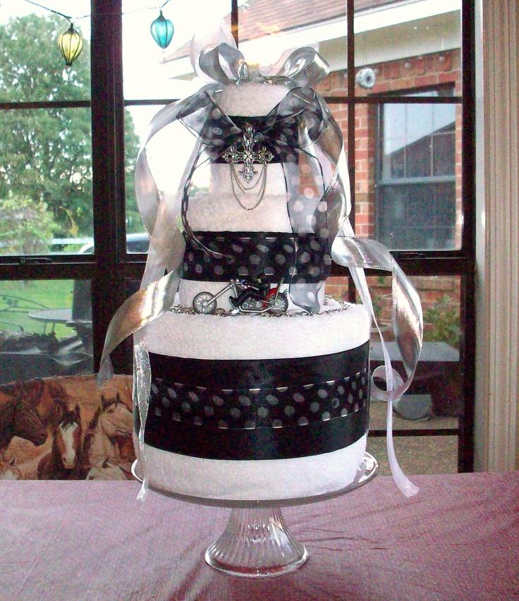 biker towel wedding shower cake baby cakes pinterest wedding wedding shower cakes and towels. Black Bedroom Furniture Sets. Home Design Ideas