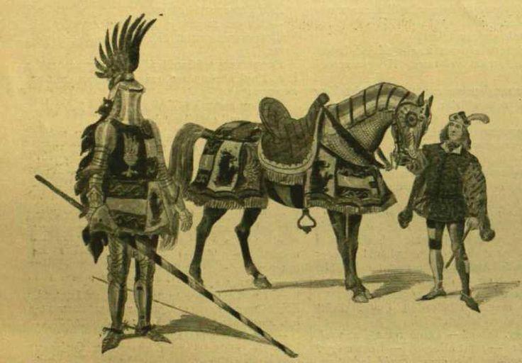 Képek a Budapesten rendezett lovasjátékokból : Lovagöltözék a XV. század második feléből. Nemes Mihály rajzai a közreműködők részére / rajzoló Nemes Mihály. Képaláírás: Képek a Budapesten rendezett lovasjátékokból. - Nemes Mihály rajzai a közreműködők részére.Lovagöltözék a XV. század második felébőlIsmertető szöveg: Még az eddig látottak után is meglepő volt a lovagok ragyogó felszerelése. Ottó főherczeg pánczélos díszben jelent meg, a többi lovag talpig pánczélban, leeresztett sisakkal s…