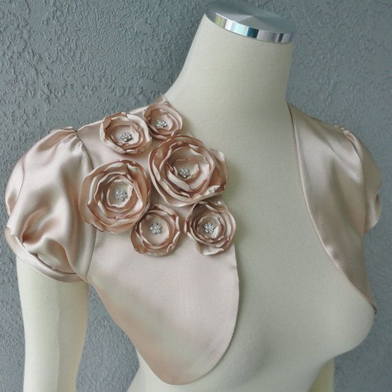 Wedding Bridal Champagne Satin Bolero Shrug by Chuletindesigns,