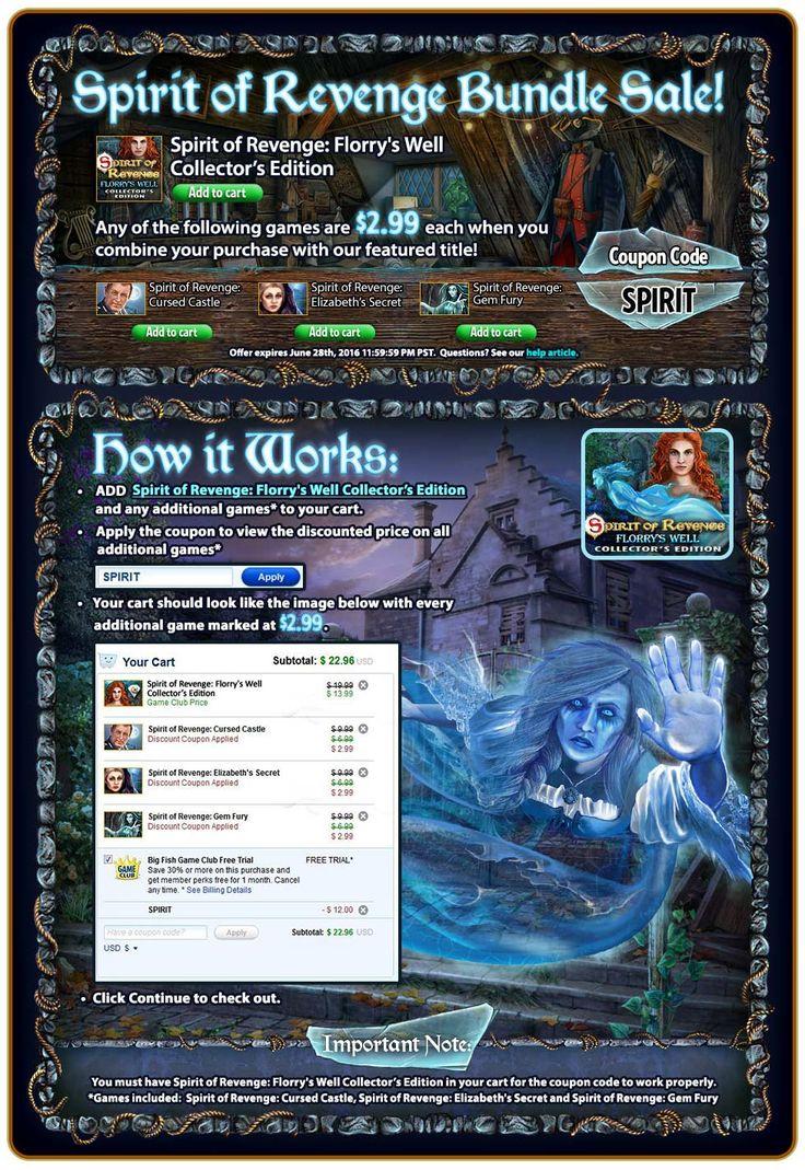 Spirit of Revenge Bundle #Sale! #bundlesale – Buy Spirit of Revenge: Florry's Well Collector's Edition and get previous Spirit of Revenge #games for $2.99! Use code SPIRIT at checkout. Offer valid June 27-28, 2016. http://wholovegames.com/hidden-object/spirit-of-revenge-4-florrys-well-collectors-edition.html